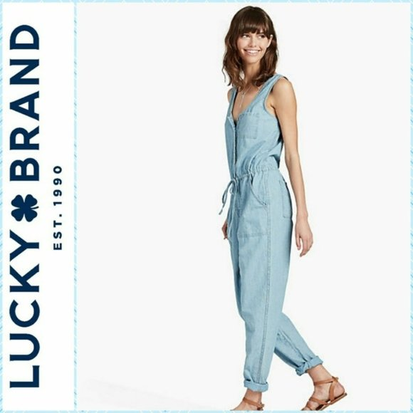 Lucky Brand Dresses & Skirts - Lucky Brand Moreno Valley Chambray Jumpsuit Size S